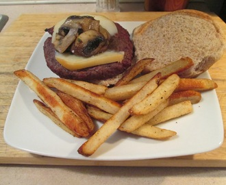 Grilled Smoked Mozzarella Cheese and Mushroom Buffalo Burger w/ Baked Fries