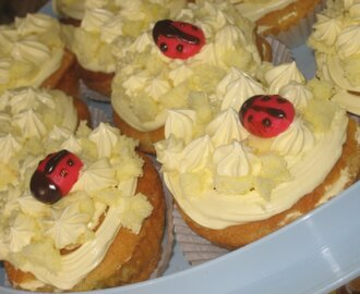 Ladybirds and Mimose cupcakes