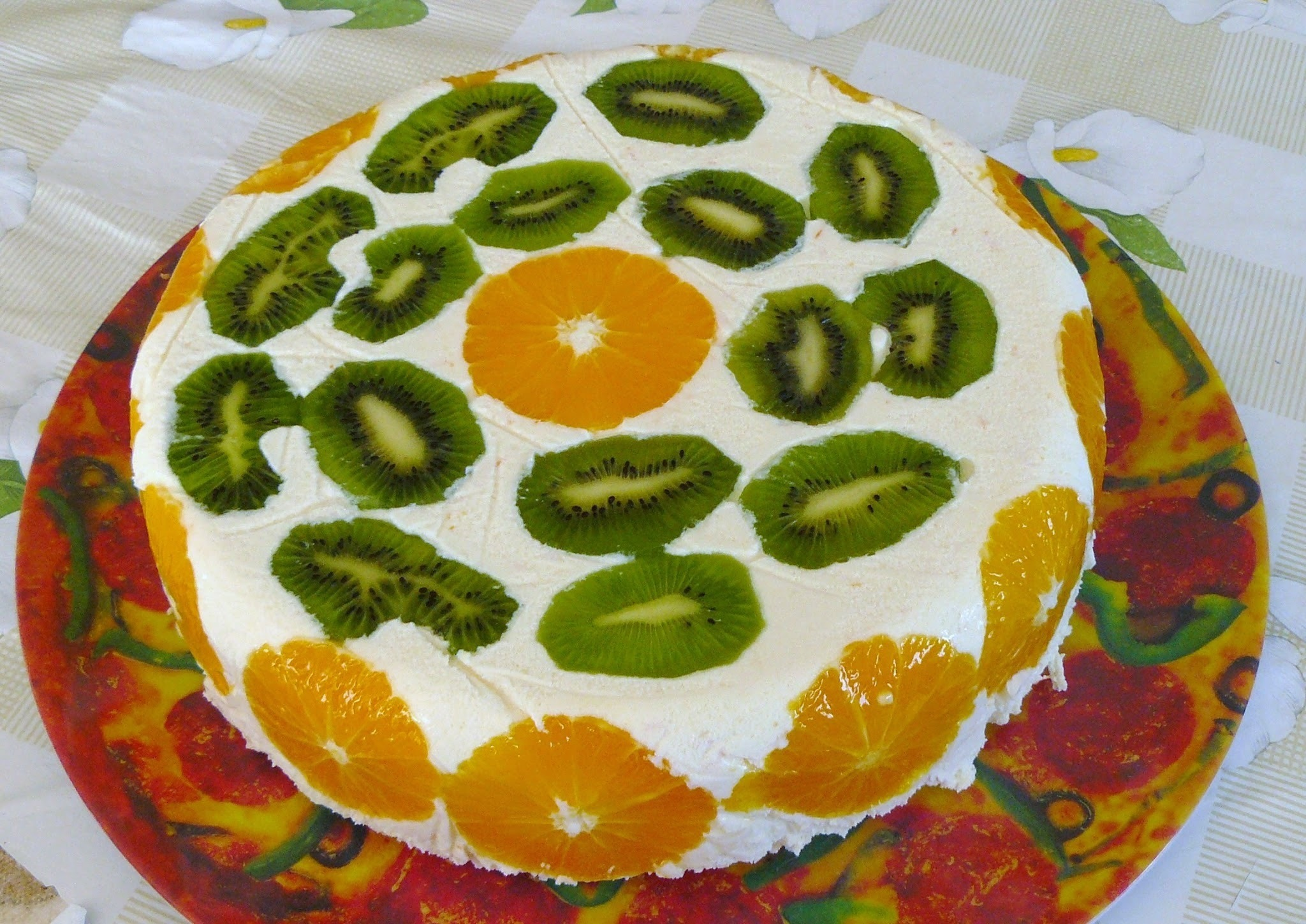 Diplomat cake with fruits