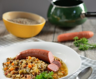 Einfache Linsensuppe mit Rindswurst / Easy peasy lentil soup with beef sausage