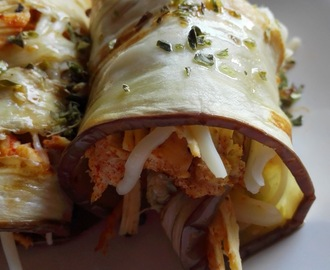 Rollitos de berenjena, pollo y queso (Receta Fit)