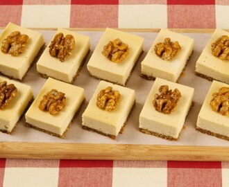 Maple Walnut Cheesecake Squares 	             walnut halves packed dark brown sugar butter cream cheese medium maple syrup or amber maple syrup vanilla egg all-purpose flour granulated sugar corn syrup walnut halves