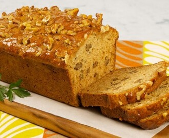 Honey Walnut Red Fife Wheat Loaf 	             chopped walnuts all-purpose flour red fife flour baking powder baking soda salt buttermilk unsalted butter flavourful liquid honey granulated sugar eggs chopped walnuts liquid honey water