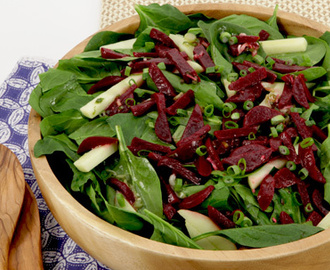 Beet, Apple and Spinach Salad 	             beets apple cider cider vinegar olive oil Dijon mustard salt pinch pepper pinch granulated sugar clove garlic green onions packed trimmed fresh spinach green skinned apple