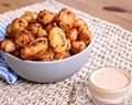 Beer Batter Fried Cheese Curds + Harissa Ranch Dipping Sauce