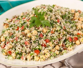 Tabbouleh Salad 	             bulgur chickpeas tomatoes diced english cucumber minced fresh italian parsley chopped green onions chopped fresh mint lemon juice olive oil cloves garlic salt pepper