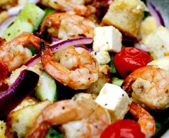 Greek Shrimp Panzanella Bread Salad