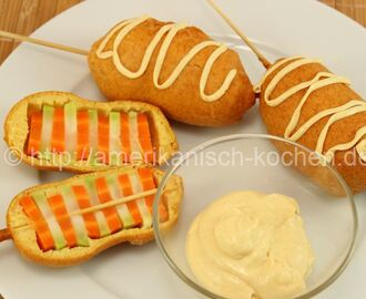 Veggi Corn Dogs mit Dip / Vegetarische Hot Dogs mit Broccoli & Karotten
