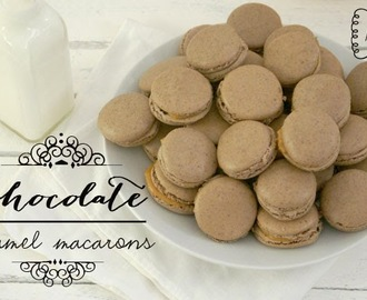 Chocolate and  caramel macarons & My 1st blog anniversary