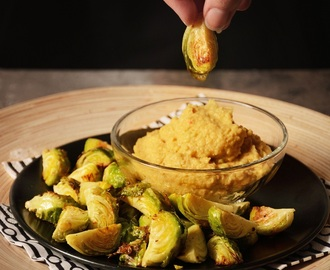 Im Ofen gerösteter Rosenkohl mit Avocado-Hummus - Oven roasted brussels sprouts with avocado hummus