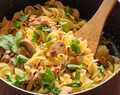 Creamy Sriracha Noodles with Turkey and Mushrooms