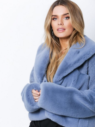 Samsøe Samsøe Carla jacket 10158 Faux Fur Dusty Blue