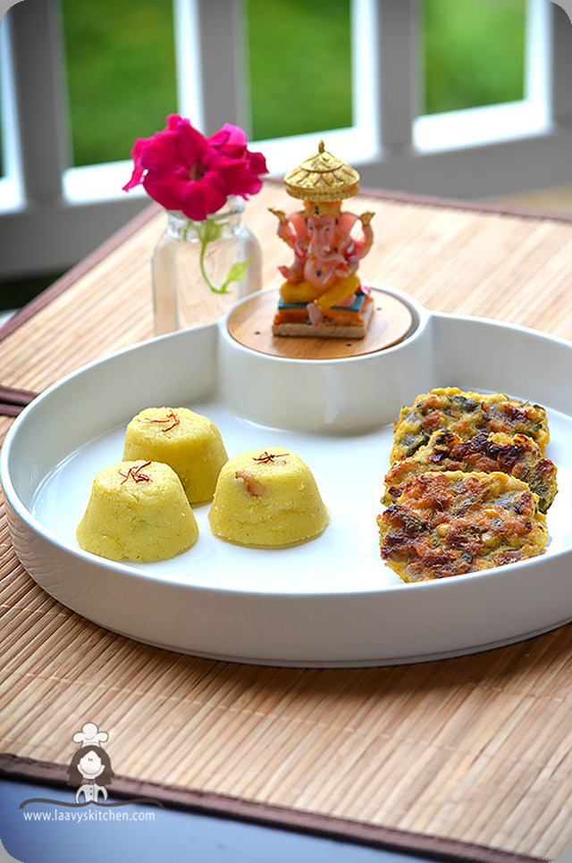 Sweet corn Masal vada and Pineapple kesari - Baked healthy lentil fritter and Pineapple pudding