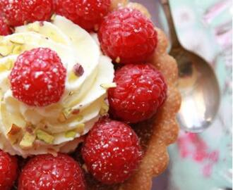Raspberry Pistachio Frangipane Tarts With Honey Chantilly....
