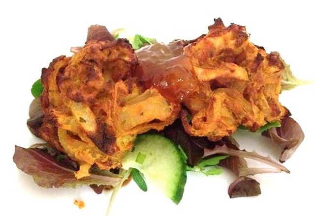 Gluten and Dairy Free Baked Onion Bhajis