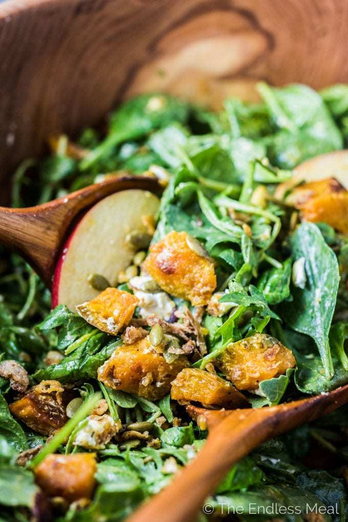 Roasted Pumpkin Spinach Salad with Maple Pumpkin Dressing