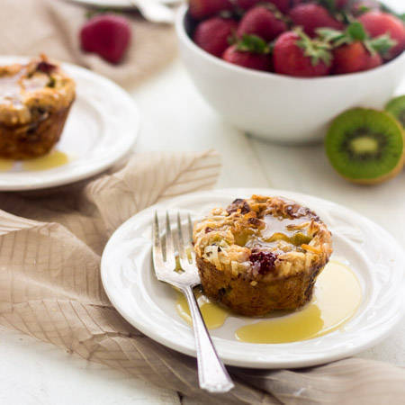 Recipe for Bread Pudding with Strawberries, Kiwi and Coconut Rum Sauce {Lightened up}