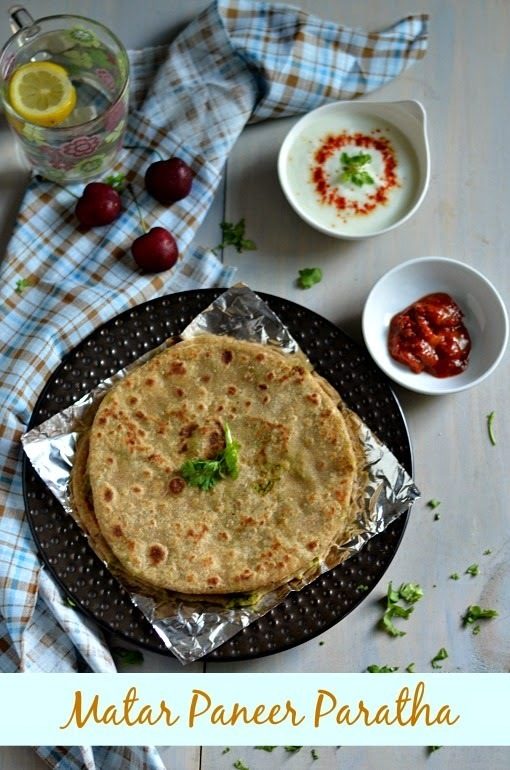Matar Paneer Stuffed Paratha/Green peas and Paneer Stuffed Paratha