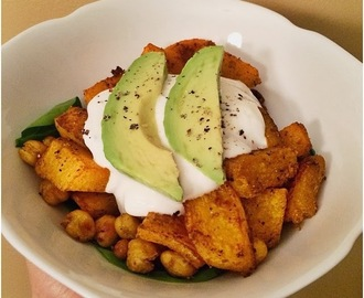 Curry Roasted Butternut Squash and Chickpeas with a Cilantro Lemon Yogurt Sauce