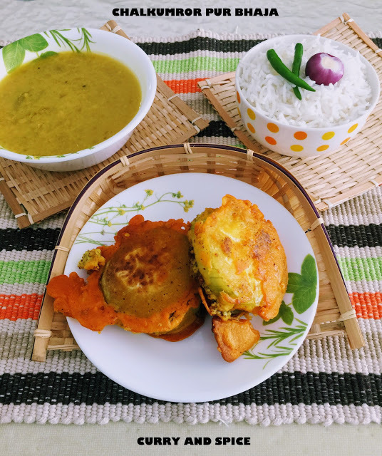 CHALKUMROR PUR BHAJA [BATTER FRIED STUFFED WINTER MELON]