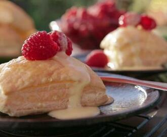 Puff Pastries with Raspberries and Orange Sabayon