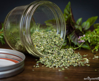 One Salt to Rule them All:  Rosemary-Thyme-Basil Herb Salt