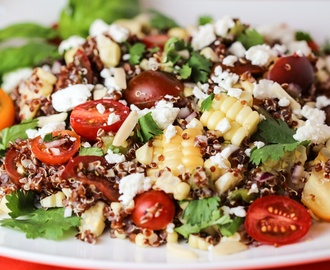 Grilled Corn, Tomato and Feta Quinoa Salad with Citrus Vinaigrette