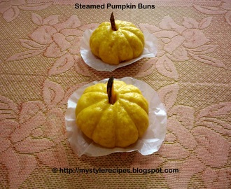Steamed Pumpkin Buns with Green Gram Filling