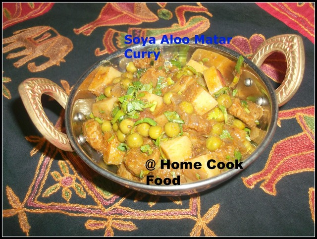 Soya Aloo Matar / Soya Potato Green Peas Curry