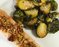 Honey walnut crusted salmon & lemon garlic roasted bussels sprouts