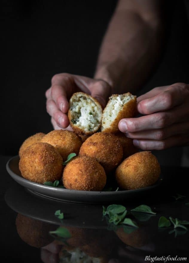 Arancini Balls Recipe with Tomato and Red Pepper Dipping Sauce