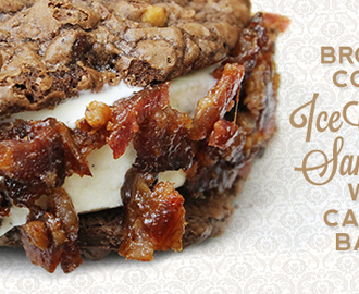 Brownie Cookie Ice Cream Sandwiches with Candied Bacon