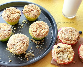 Eggless lemony blueberry muffins with crumble topping