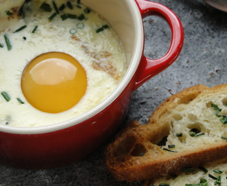 Egg en cocotte with blue cheese & chives