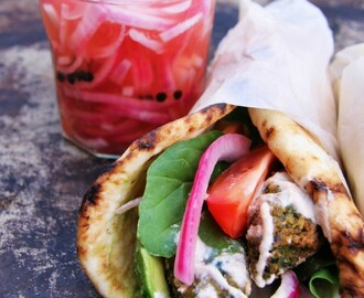 Chickpea & Broad Bean Falafels with Pickled Red Onions & Lemon Tahini Sauce