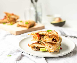 Avocado shrimp quesadillas