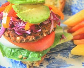 Black Bean and Mushroom Burgers + A Savoury Cornbread Bun (Vegan, Gluten-Free, Rice-Free and Soy-Free)
