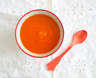 Soupe veloutée potimarron, carottes et orange (Cream soup with squash, carrots and orange)