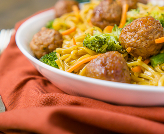 One Pot Korean BBQ Meatball Chow Mein
