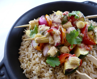 Rocket & Roses Griddled Veggie Skewers with Fresh Thai Inspired Sauce