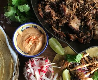 Slow-Cooker Carnitas Tacos with Sriracha Mayo
