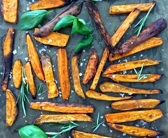 Homemade Baked Sweet Potato Fries – Ugnsbakade Sötpotatis Pommes Frites