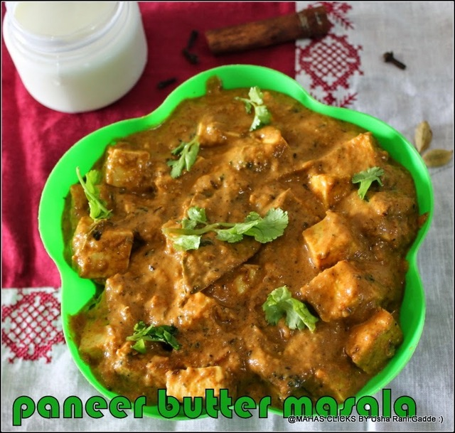 Paneer butter masala/Ricotta cheese in buttery gravy/Paneer Makhani gravy for rotis/Vegetarian side dishes for rotis and parathas/step by step pitcures
