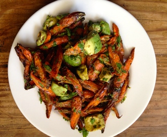Roasted Carrot & Avocado Salad with Cumin Citrus Dressing