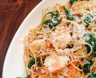 Garlic Shrimp and Spinach over Whole Wheat Angel Hair Pasta