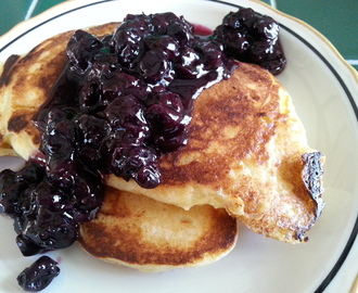 Lemon Ricotta Pancakes with Blueberry Syrup…Oh My!