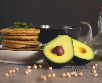 Chickpea Almond Pancakes with Avocado Hummus Dip