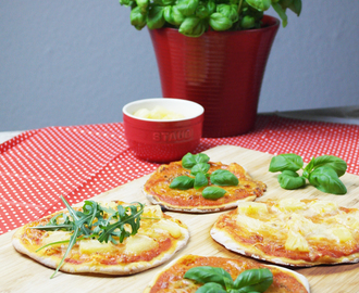 mini margherita pizza & mit ananas | mini margherita pizza & with pineapple (veggie/vegan)