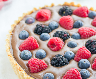 Gluten free chocolate tart with berries