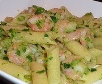 Penne with shrimp and zucchine Recipe